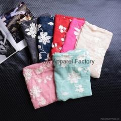 Wholesale Korean Fashion Ladies Cotton Flower Embroidery Scarf Shawl