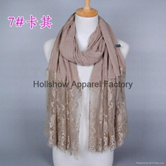 New Style Plain Solid Color Muslim Hijab Lace Scarf