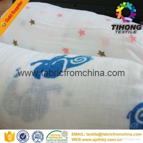 100% cotton printed muslin baby cloth fabric 1