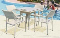 度假村酒店户外休闲家具花园PE编藤桌椅