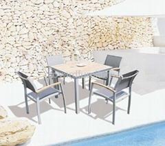 别墅花园庭院户外休闲家具柚木实木餐桌椅