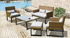 Outdoor leisure rattan wicker furniture patio sofa set
