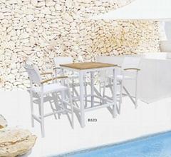 户外餐厅酒吧家具柚木实木高脚吧椅