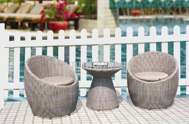 現代簡約風格戶外露台陽台休閑傢具編藤月亮椅 1