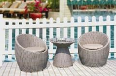 现代简约风格户外露台阳台休闲家具编藤月亮椅