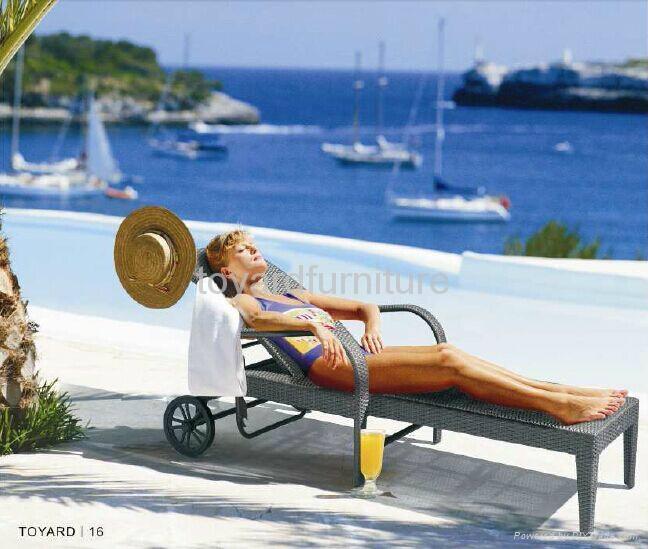 度假村酒店别墅沙滩泳池户外休闲家具特斯林沙滩泳池躺椅懒人椅 3