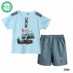 Cotton cartoon printing  baby clothes short set