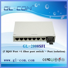 7 fiber +1 RJ45 single port ethernet switch Series- Port isolation