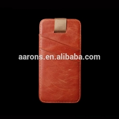 pouch top grain leather cell phone pouch for iphone 6 4.7inch