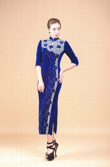 Women Vintage Beaded Velvet Cheongsam