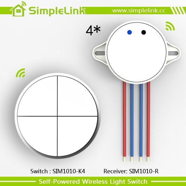 Low cost smart wireless remote electrical 4 gang lighting switch -