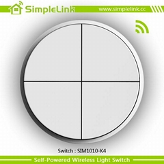 Newest energy harvesting wireless rf remote control 4 gang on off switch