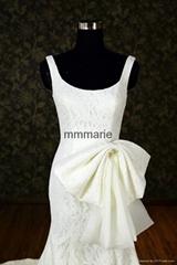 stylish elegant lace sweep train strap U-neck backless mermaid wedding dress