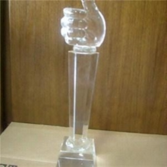 Glass Hand Trophy