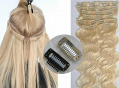 100% Brazilian Remy Human Hair Clips Hair Extension Natural Hair