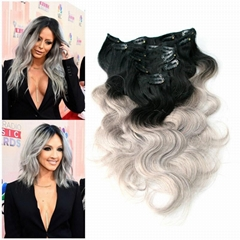 Ombre Color Clips in Hair Extension Brazilian Remy Hair