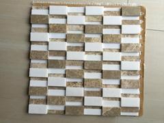 Popular design Polished emperador light and Yugoslavia white Mosaic Tile