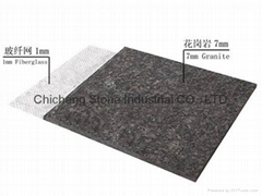 Ultra thin granite reinforced fiberglass
