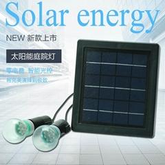 3.5W一拖二球泡太陽能燈壁燈防水超亮家用庭院燈室內