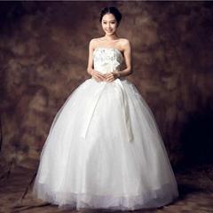 Luxury spring bridal gown Bra straps floor length thin wedding dress 32