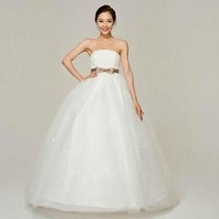 luxury women bow waist floor length Bra straps sweet princess wedding dresses 24