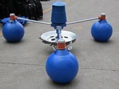 鱼塘三浮球叶轮式增氧机
