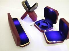 高檔LED燈PU首飾盒
