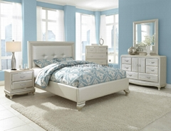 nails decor PU leather beds with night stands and side chest mirror and dresser