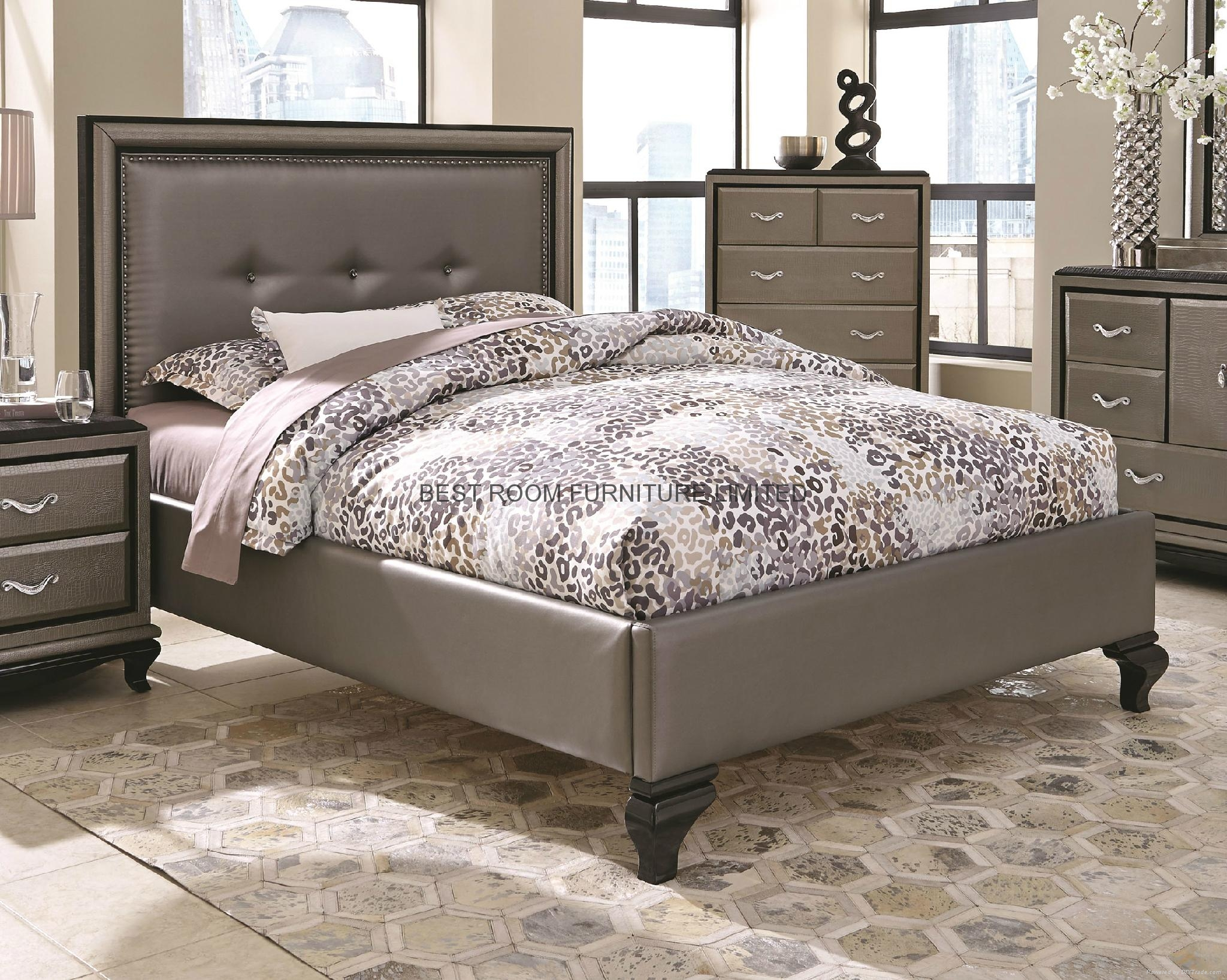 nails decor PU leather beds with night stands and side chest mirror and dresser  2
