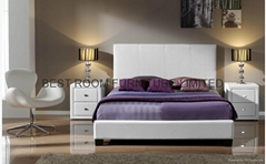 promotion cheap leather beds with night stands and storage ottoman