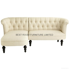 mordern liene  fabric tuffed hot-sold american furniture corner sofa with chaise