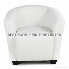 mordern single leather sofa chairs with small leather stool pouf