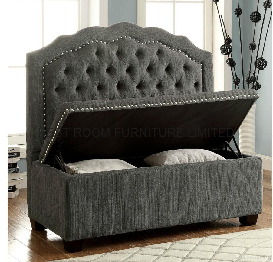 Resturant high back sofa storage sofa nails decor fabric sofa  full-tuffed sofa 5