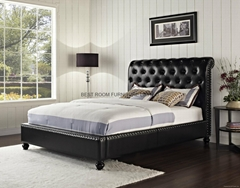 upholstered leather beds