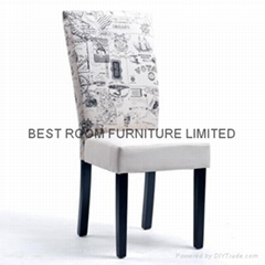 soild wood frame fabric dining chairs mordern  patterns fabric side chairs