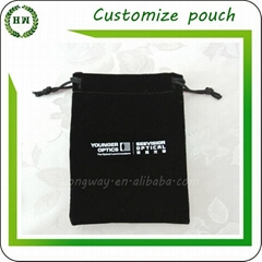 Customized Logo velvet jewelry pouch velvet jewellery bag for rings and necklace