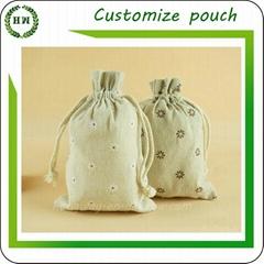 Jute linen burlap pouch with customize