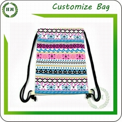 Cotton drawstring backpack with customize logo canvas string bag with printing