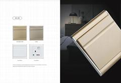 UK style aluminium panel metal wall switch and socket
