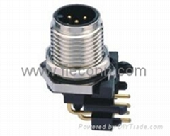 M12 Connector Male Panel Mount Right Angled PCB Type 4 Poles 5 pins