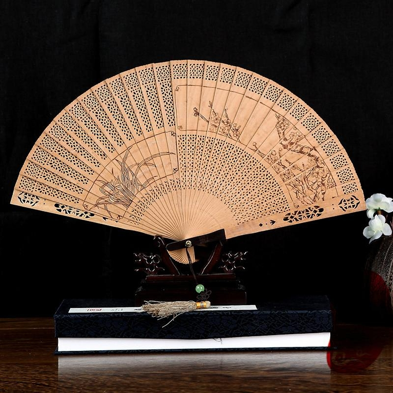 [professional] pure craft to create exquisite folding wooden fan (welcome to buy 2