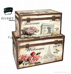 Antique retro PU Leather Storage Trunk Box Packaging Wooden Box