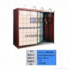 單面平推式背景牆瓷磚展櫃