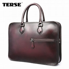 Berluti style briefcase with best price hand-polished bag OEM manufacture