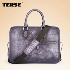 Berluti engraved script leather briefcase italian leather bag