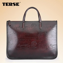 Vintage fashion leather briefcase bags for men business portfolios mens laptop