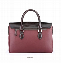 Berluti waxed leather briefcase with script-embossed flap top