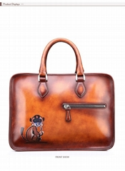 2016 Monkey briefcase Italian leather handbags wholesale custom calfskin laptop