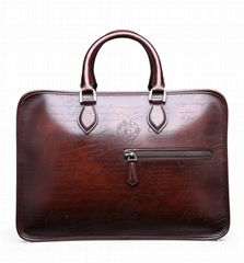 top quality script-embossed Italian cowhide leather briefcase calligraphy