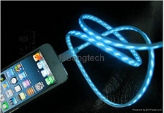 EL LED Charging USB Charger Cable Visible Flowing Electroluminescent Light